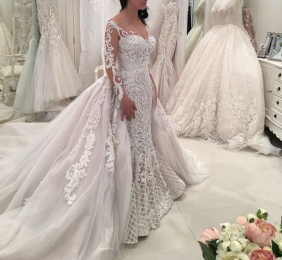 Glamorous Long Sleeves Lace Wedding Dresses 2020 | Sexy Mermaid Bridal Gowns with Detachable Skirt_5