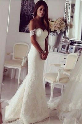 Elegant Mermaid Wedding Dresses 2020 Off-the-shoulder Slinky Lace Wedding Gown BA3864_1