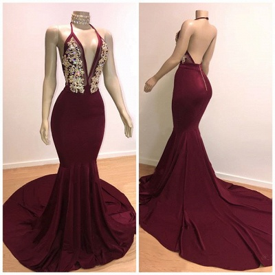 Backless Burgundy Prom Dresses 2020 | Sleeveless Mermaid Cheap Evening Gowns with Crystals_2