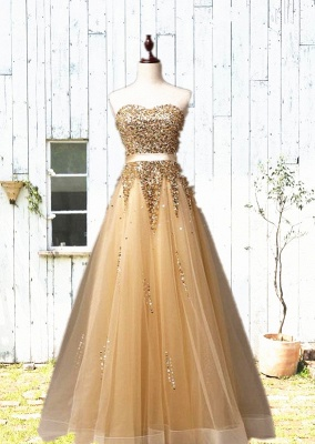 Sweetheart Organza Floor Length 2020 Prom Dresses Sequined Gorgeous Crystal Evening Dresses_1