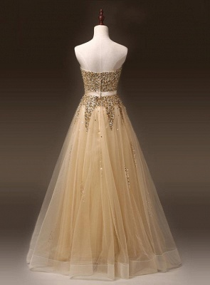 Sweetheart Organza Floor Length 2020 Prom Dresses Sequined Gorgeous Crystal Evening Dresses_4