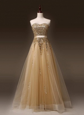Sweetheart Organza Floor Length 2020 Prom Dresses Sequined Gorgeous Crystal Evening Dresses_3