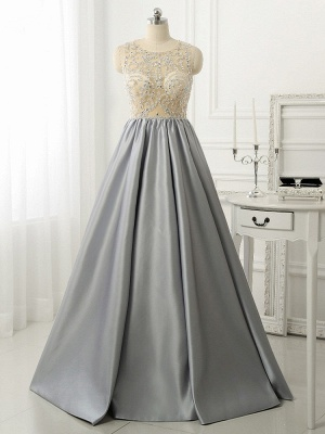 A-line Crystal Sleeveless Evening Dresses New Arrival Floor Length 2020 Prom Gowns_1