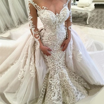 Glamorous Long Sleeves Lace Wedding Dresses 2020 | Sexy Mermaid Bridal Gowns with Detachable Skirt_4