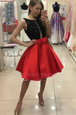 2020 Short A-Line Bowknot Sleeveless Sequined Homecoming Dresses_3