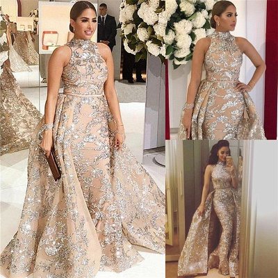 Silver Beads Lace Appliques Overskirt Prom Dresses 2020 | Sleeveless Champagne Sexy Evening Gown Cheap_3