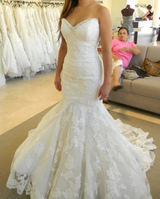 2020 Strapless Mermaid Wedding Dresses with Bling Bling Beads Lace Sleeveless Wedding Gowns_3