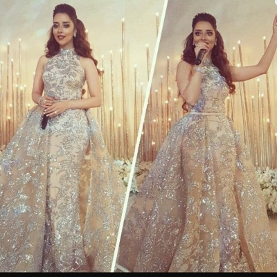 Silver Beads Lace Appliques Overskirt Prom Dresses 2020 | Sleeveless Champagne Sexy Evening Gown Cheap_5