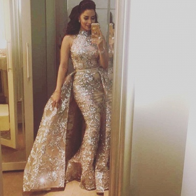 Silver Beads Lace Appliques Overskirt Prom Dresses 2020 | Sleeveless Champagne Sexy Evening Gown Cheap_4