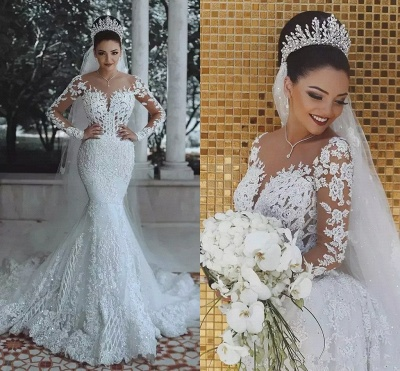 Glamorous Long Sleeve Lace Wedding Dress Mermaid Designer Bridal Gowns Online_4