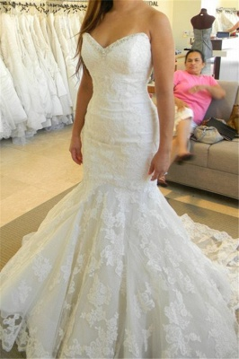 2020 Strapless Mermaid Wedding Dresses with Bling Bling Beads Lace Sleeveless Wedding Gowns_1