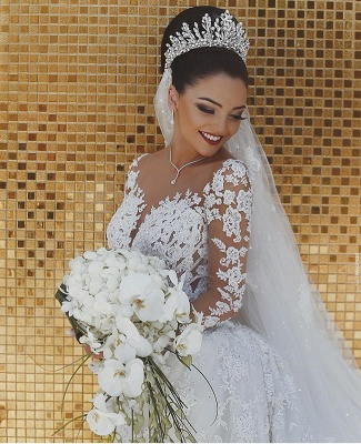 Glamorous Long Sleeve Lace Wedding Dress Mermaid Designer Bridal Gowns Online_3