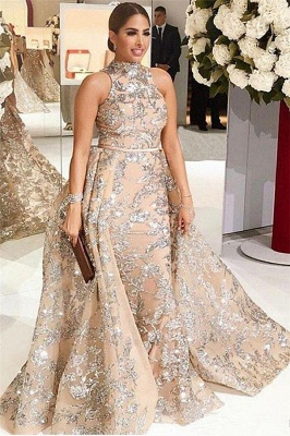 Silver Beads Lace Appliques Overskirt Prom Dresses 2020 | Sleeveless Champagne Sexy Evening Gown Cheap_1