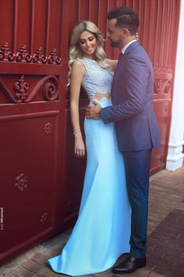 Baby Blue Two Piece Evening Dress Long Lace Mermaid 2020 Prom Dresses Cheap BA3914_3