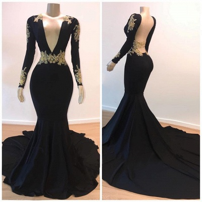 Open Back Gold Lace Black Prom Dresses Cheap 2020 | Mermaid Long Sleeve Formal Evening Gowns_2