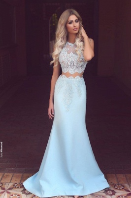 Baby Blue Two Piece Evening Dress Long Lace Mermaid 2020 Prom Dresses Cheap BA3914_1