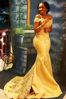 Off The Shoulder Yellow Sparkling Prom Dresses | 2020 Mermaid Beads Sequins Evening Gown Cheap FB0335_1