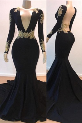 Open Back Gold Lace Black Prom Dresses Cheap 2020 | Mermaid Long Sleeve Formal Evening Gowns_1