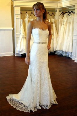 2020 Lace Country Wedding Dress Strapless Sheath Summer Beach Wedding Gowns with Crystals Belt BA8083_1