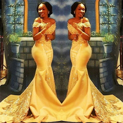 Off The Shoulder Yellow Sparkling Prom Dresses | 2020 Mermaid Beads Sequins Evening Gown Cheap FB0335_3