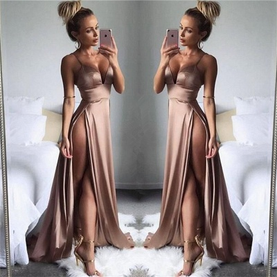 Sexy Side Slit Cheap Formal Evening Dresses | Spaghetti Straps Sleeveless Summer Party Dresses 2020_3