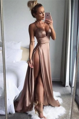 Sexy Side Slit Cheap Formal Evening Dresses | Spaghetti Straps Sleeveless Summer Party Dresses 2020_1