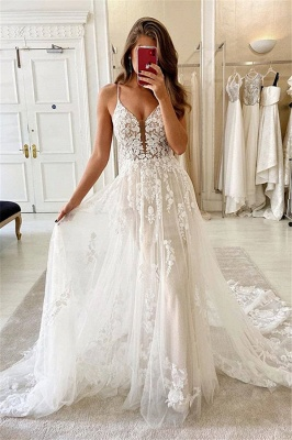 Spaghetti-straps A-line Tulle Wedding Dresses | Lace Appliques V-neck Bridal Gowns_1