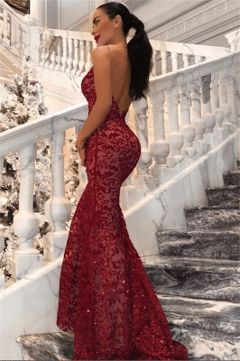 Sexy Backless Mermaid Sequins Prom Dresses 2020 | Cheap Red V-Neck Sleeveless Evening Dress BC0989_1