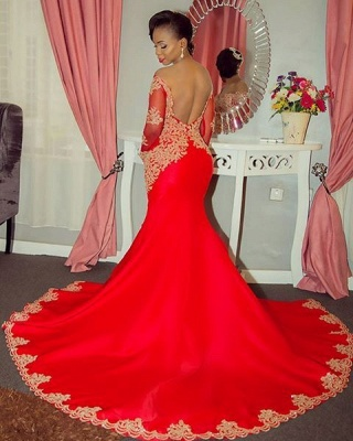 2020 Sparkling Beaded Lace Sexy Prom Dresses | Off The Shoulder Long Sleeve Backless Evening Gown BA8551_3