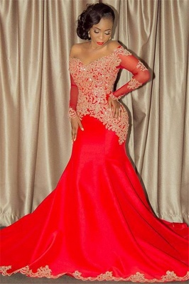 2020 Sparkling Beaded Lace Sexy Prom Dresses | Off The Shoulder Long Sleeve Backless Evening Gown BA8551_1