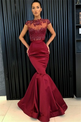 Sexy Burgundy Mermaid Evening Dresses 2020 | Cap Sleeves Appliques Beaded Evening Gowns_1