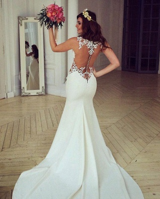 Sheer Back Lace Buttons Wedding Dress 2020 Mermaid Sleeveless Sexy Bridal Gowns BA3691_1