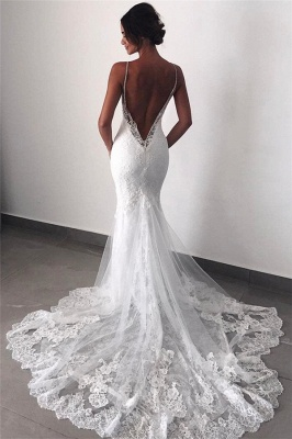 Backless Wedding Dresses Lace Mermaid | 2020 Sexy Spaghetti Straps Bride Dress Cheap_1