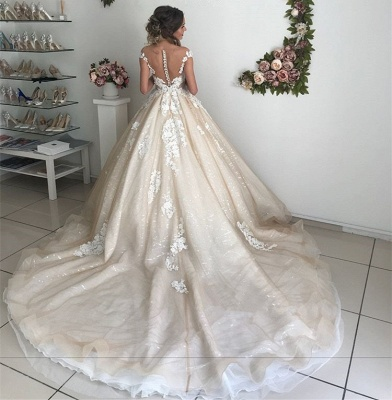 Glamorous Off-the-Shoulder Lace Appliques Wedding Dresses | 2020 Ivory Bridal Ball Gowns with Buttons_5