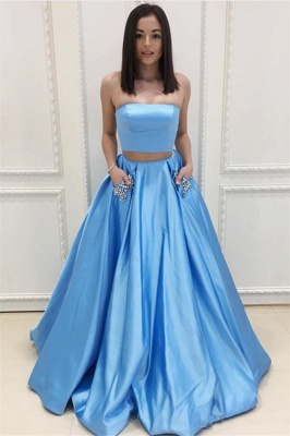 Two Pieces Prom Dresses Cheap | Strapless Long Formal Dresses SK0143_1