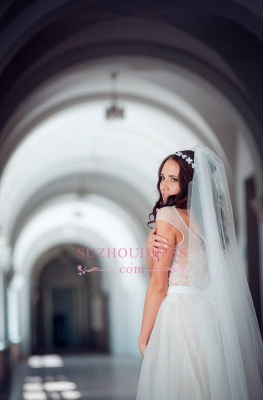 Elegant Tulle Lace Cap Sleeve Split Long Wedding Dress_4