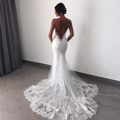 Backless Wedding Dresses Lace Mermaid | 2020 Sexy Spaghetti Straps Bride Dress Cheap_5