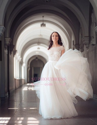 Elegant Tulle Lace Cap Sleeve Split Long Wedding Dress_3