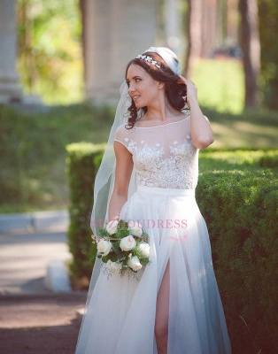 Elegant Tulle Lace Cap Sleeve Split Long Wedding Dress_5