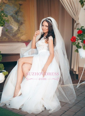 Elegant Tulle Lace Cap Sleeve Split Long Wedding Dress_2