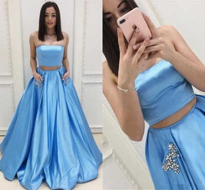Two Pieces Prom Dresses Cheap | Strapless Long Formal Dresses SK0143_4