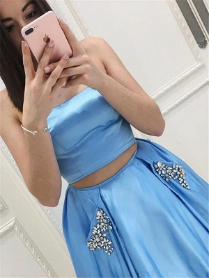 Two Pieces Prom Dresses Cheap | Strapless Long Formal Dresses SK0143_3