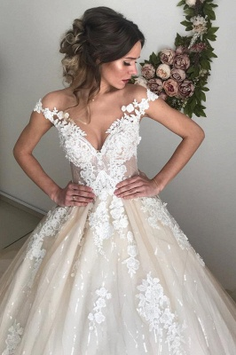Glamorous Off-the-Shoulder Lace Appliques Wedding Dresses | 2020 Ivory Bridal Ball Gowns with Buttons_4