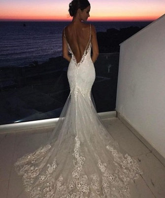 Backless Wedding Dresses Lace Mermaid | 2020 Sexy Spaghetti Straps Bride Dress Cheap_3