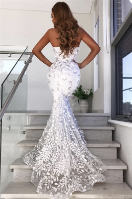 Open Back Sweetheart Leaf Appliques Wedding Dresses | Mermaid Sexy Sheer Tulle Evening Dress 2020_3