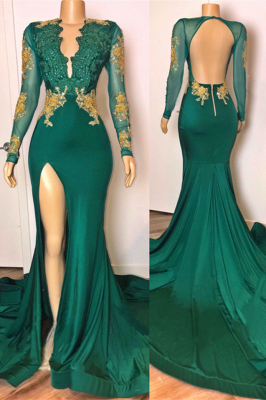 Open Back Sexy Side Slit Green Prom Dresses Long Sleeves On Sale_1