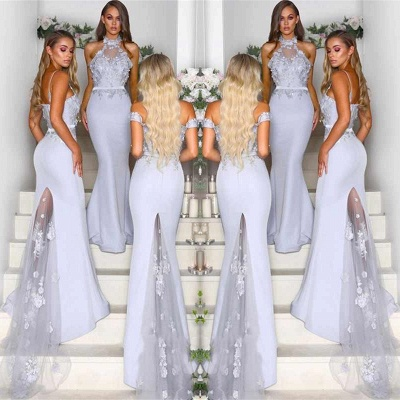 Lace Appliques Airy Blue Bridesmaid Dresses Cheap   Sexy Long Maid of Honor Dresses 2020 Online_3