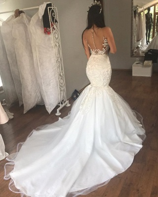 Sleeveless See Through Tulle Sexy Wedding Dresses   Mermaid Beads Appliques Bridal Dress with Long Train WE0207_2