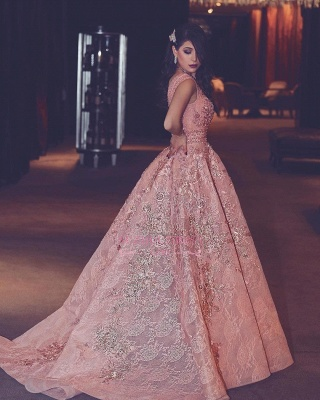 Luxury Evening Gown Flowers Puffy Pink V-Neck Beading Lace Evening Gowns_2