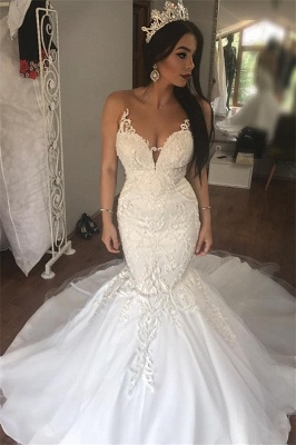 Sleeveless See Through Tulle Sexy Wedding Dresses   Mermaid Beads Appliques Bridal Dress with Long Train WE0207_1